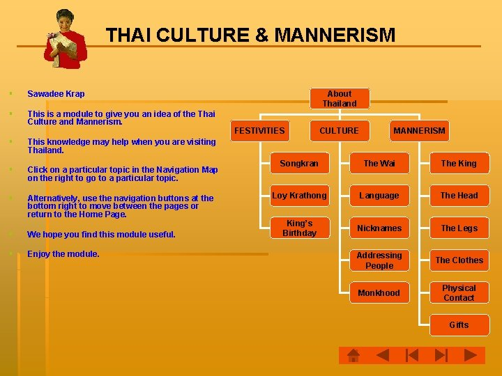 THAI CULTURE & MANNERISM § Sawadee Krap § This is a module to give