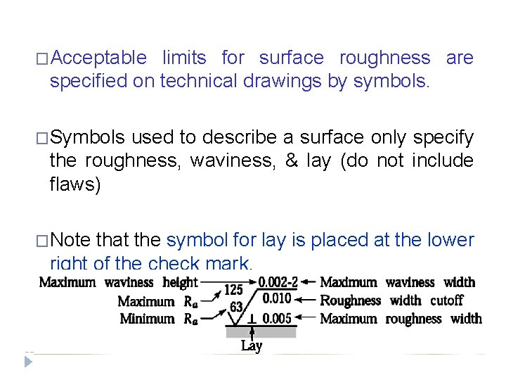 �Acceptable limits for surface roughness are specified on technical drawings by symbols. �Symbols used