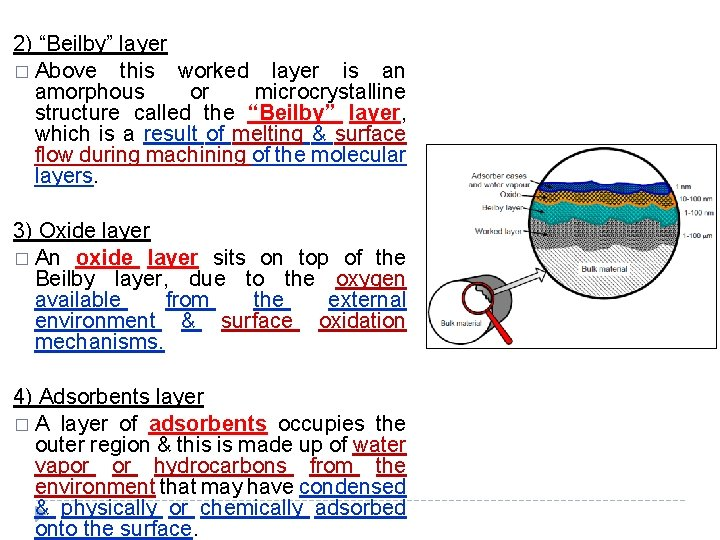 """2) """"Beilby"""" layer � Above this worked layer is an amorphous or microcrystalline structure"""