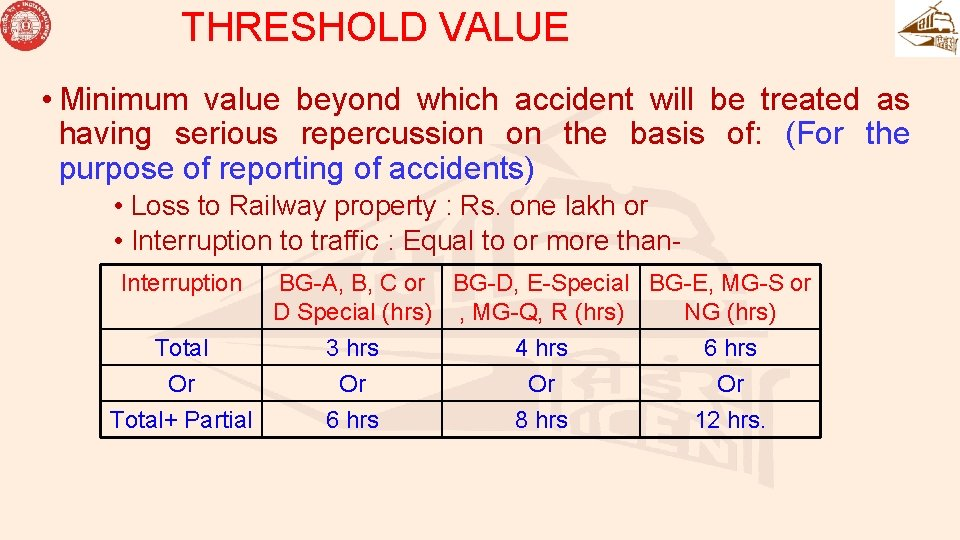 THRESHOLD VALUE • Minimum value beyond which accident will be treated as having serious