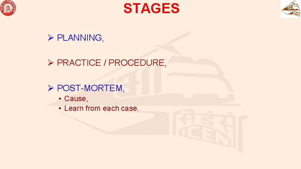 STAGES Ø PLANNING, Ø PRACTICE / PROCEDURE, Ø POST-MORTEM, • Cause, • Learn from
