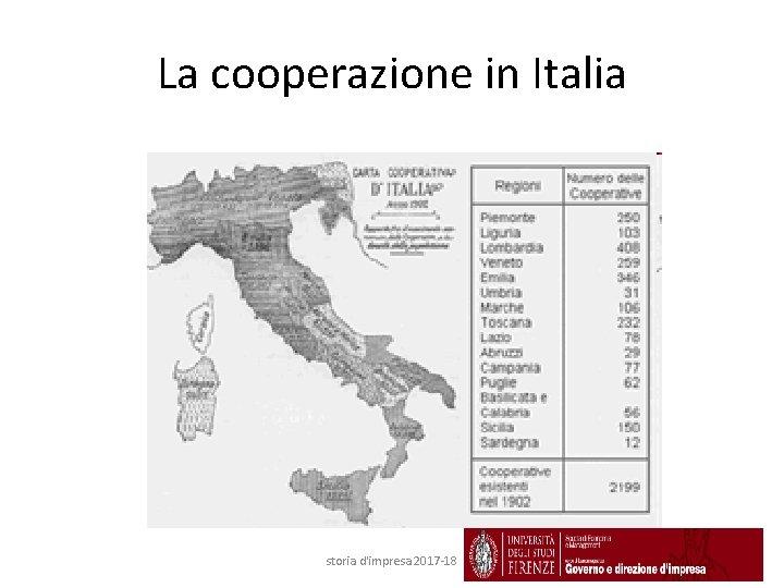 La cooperazione in Italia storia d'impresa 2017 -18