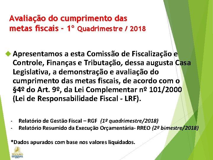 Avaliação do cumprimento das metas fiscais - 1º Quadrimestre / 2018 Apresentamos a esta