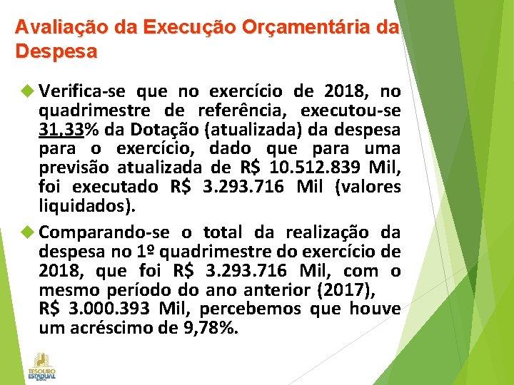 Avaliação da Execução Orçamentária da Despesa Verifica-se que no exercício de 2018, no quadrimestre