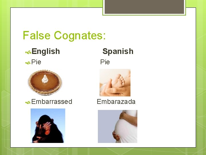 False Cognates: English Pie Embarrassed Spanish Pie Embarazada