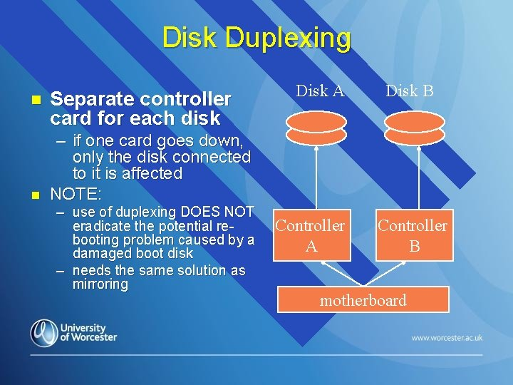 Disk Duplexing n n Separate controller card for each disk Disk A Disk B
