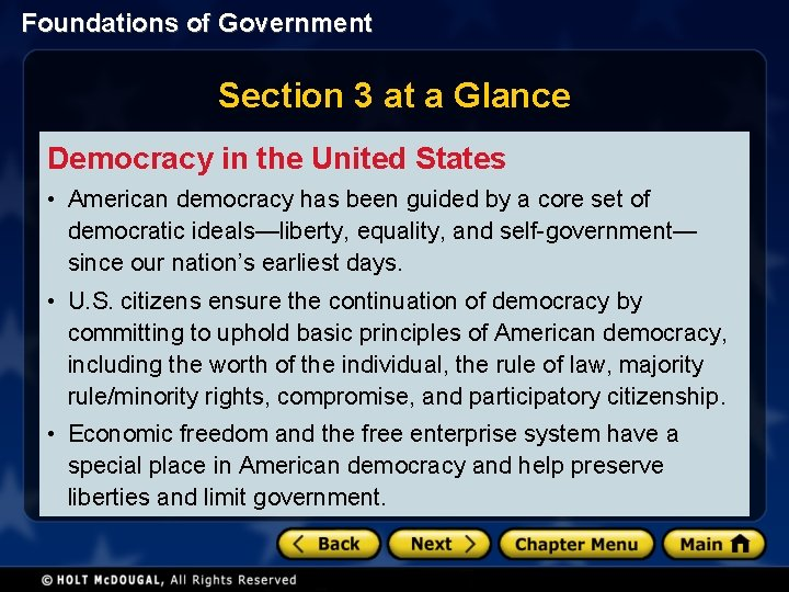 Foundations of Government Section 3 at a Glance Democracy in the United States •