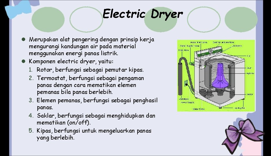 Electric Dryer l Merupakan alat pengering dengan prinsip kerja mengurangi kandungan air pada material