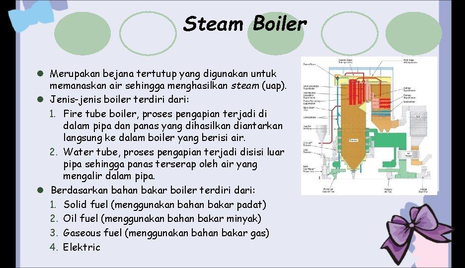 Steam Boiler l Merupakan bejana tertutup yang digunakan untuk memanaskan air sehingga menghasilkan steam