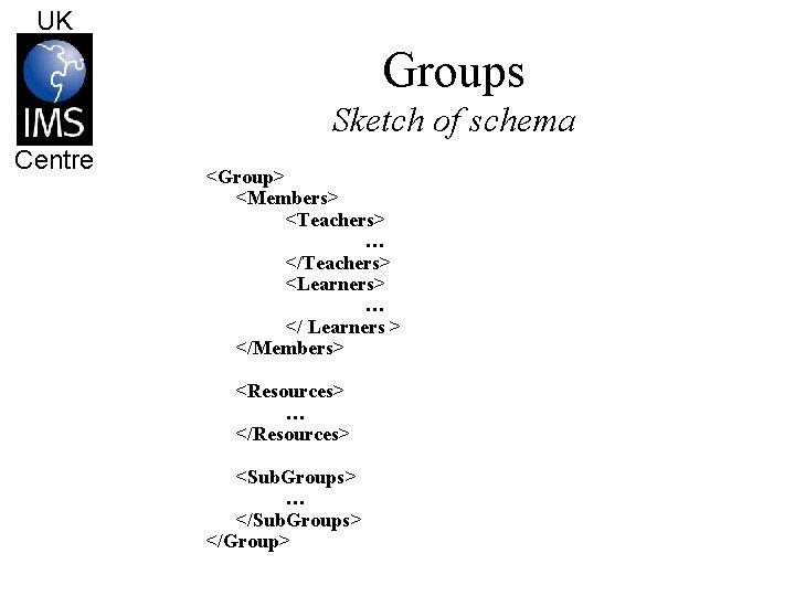 UK Groups Sketch of schema Centre <Group> <Members> <Teachers> … </Teachers> <Learners> … </