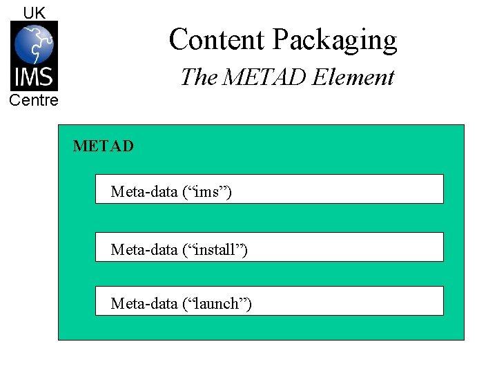 "UK Content Packaging The METAD Element Centre METAD Meta-data (""ims"") Meta-data (""install"") Meta-data (""launch"")"