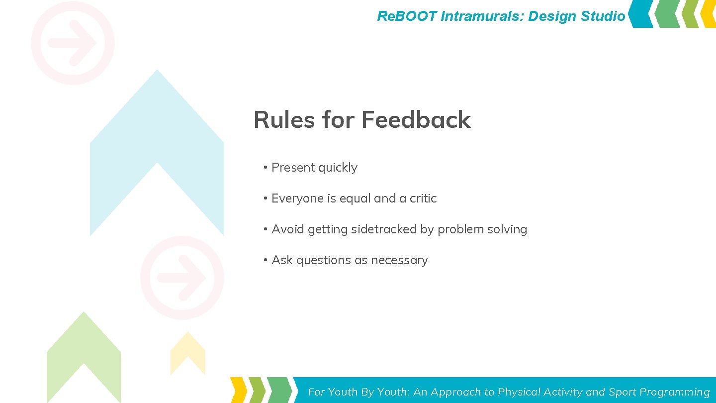 Re. BOOT Intramurals: Design Studio Rules for Feedback • Present quickly • Everyone is