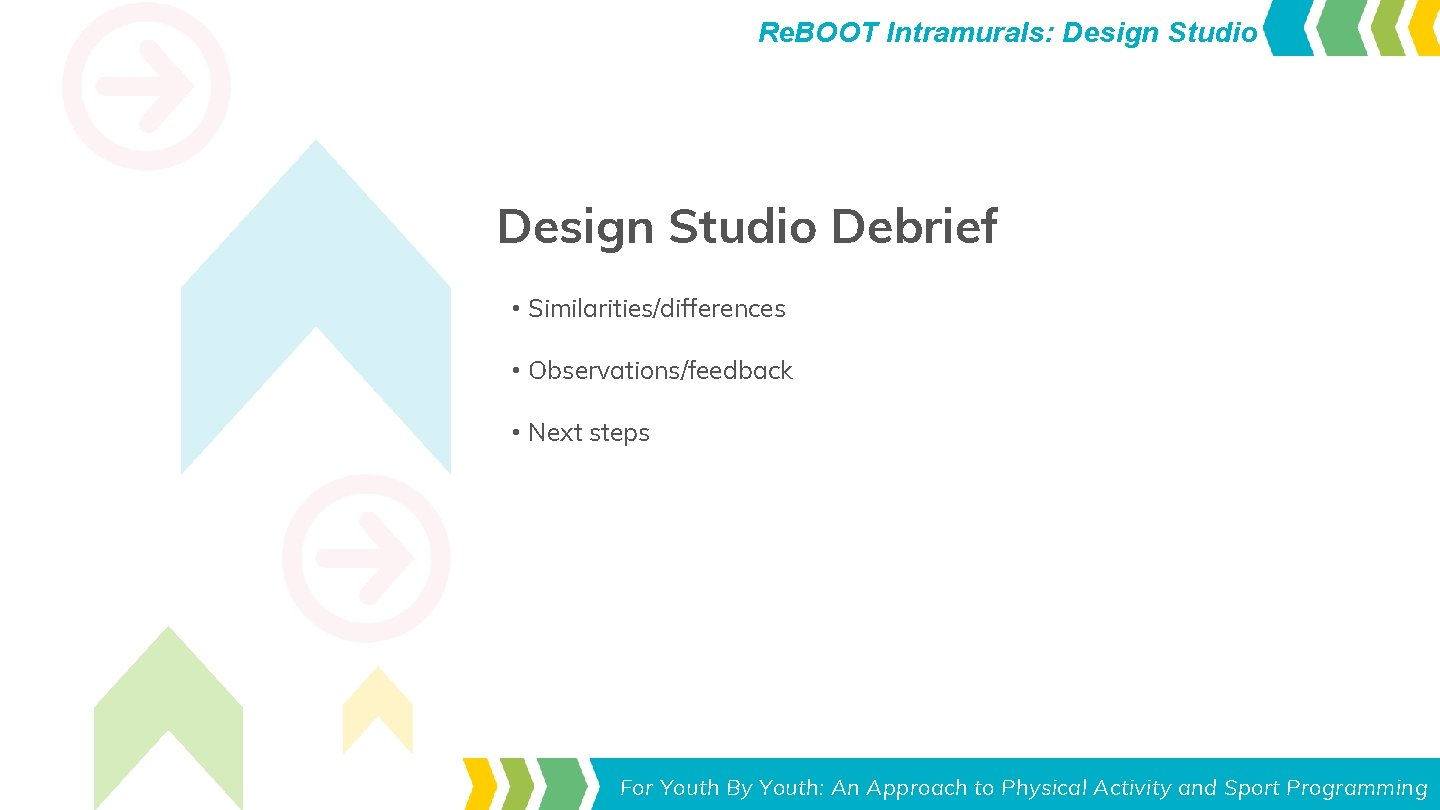 Re. BOOT Intramurals: Design Studio Debrief • Similarities/differences • Observations/feedback • Next steps Toolkit