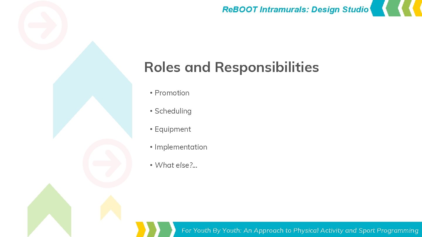 Re. BOOT Intramurals: Design Studio Roles and Responsibilities • Promotion • Scheduling • Equipment