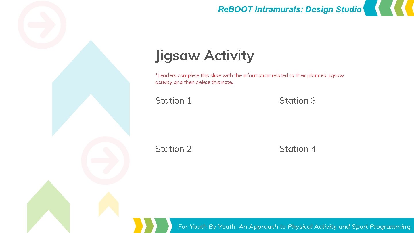 Re. BOOT Intramurals: Design Studio Jigsaw Activity *Leaders complete this slide with the information