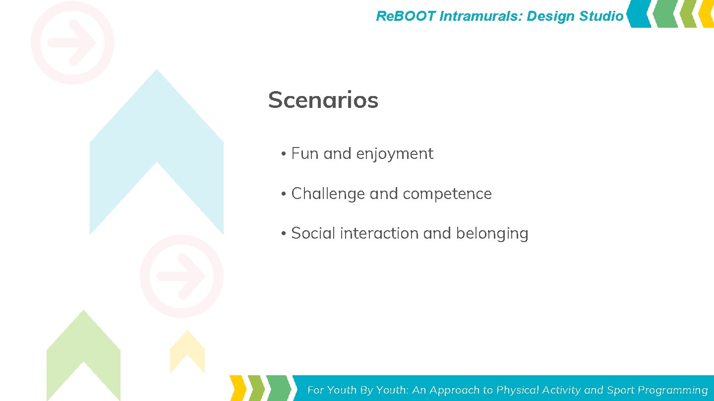 Re. BOOT Intramurals: Design Studio Scenarios • Fun and enjoyment • Challenge and competence
