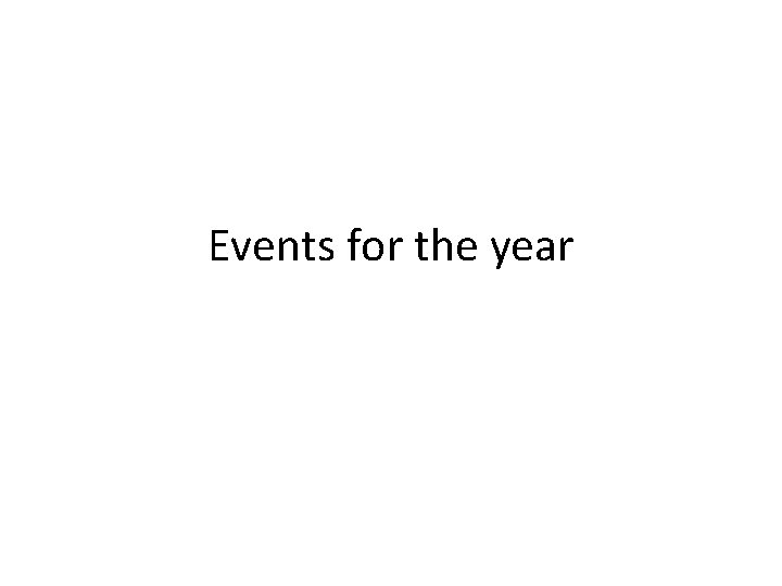 Events for the year