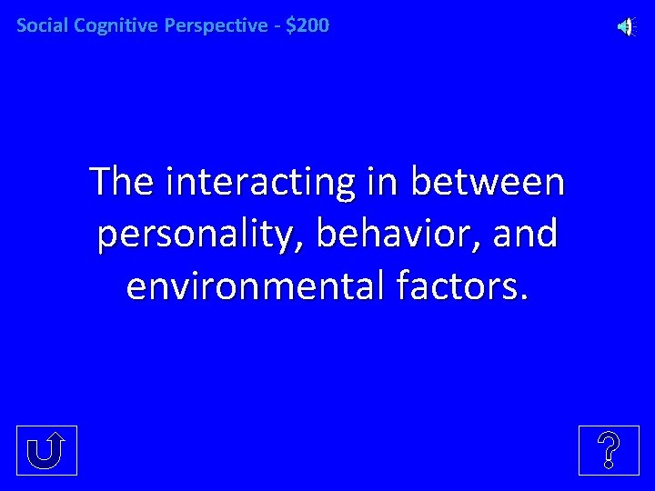Social Cognitive Perspective - $200 The interacting in between personality, behavior, and environmental factors.
