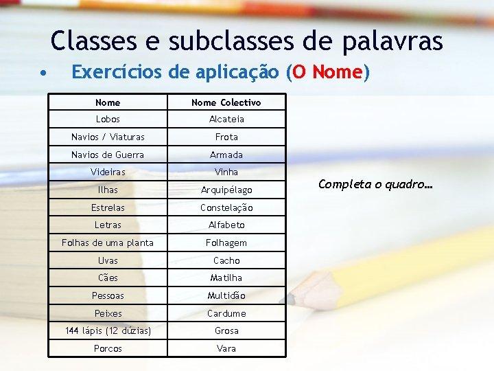 Classes e subclasses de palavras • Exercícios de aplicação (O Nome) Nome Colectivo Lobos