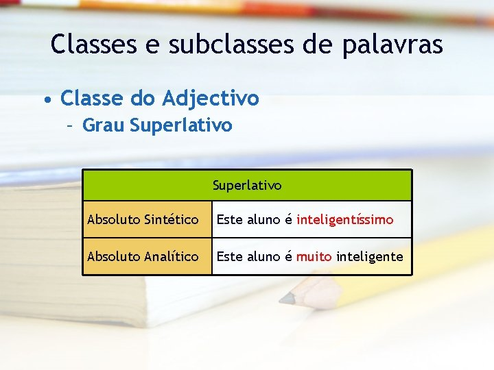Classes e subclasses de palavras • Classe do Adjectivo – Grau Superlativo Absoluto Sintético