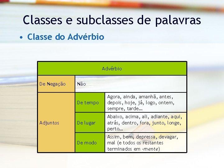 Classes e subclasses de palavras • Classe do Advérbio De Negação Adjuntos Não De