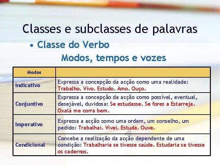 Classes e subclasses de palavras • Classe do Verbo Modos, tempos e vozes Modos