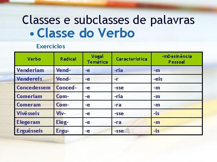 Classes e subclasses de palavras • Classe do Verbo Exercícios Verbo Radical Vogal Temática