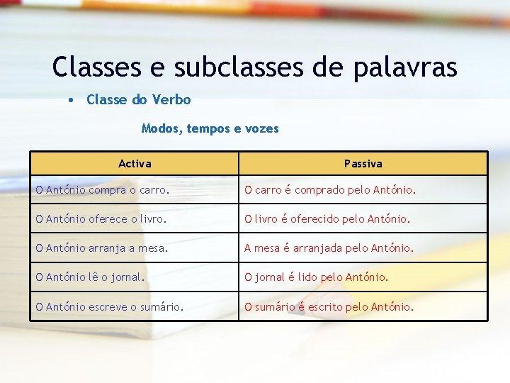 Classes e subclasses de palavras • Classe do Verbo Modos, tempos e vozes Activa