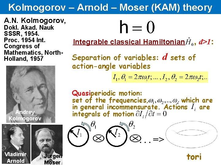 Kolmogorov – Arnold – Moser (KAM) theory A. N. Kolmogorov, Dokl. Akad. Nauk SSSR,