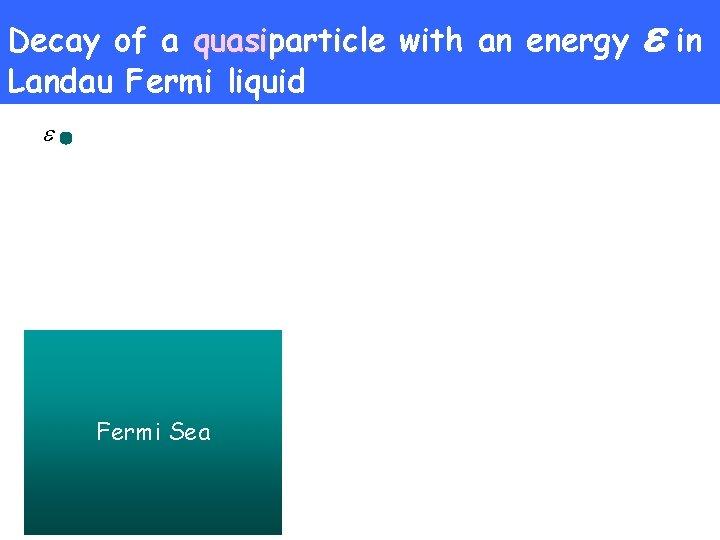 Decay of a quasiparticle with an energy Landau Fermi liquid Fermi Sea in