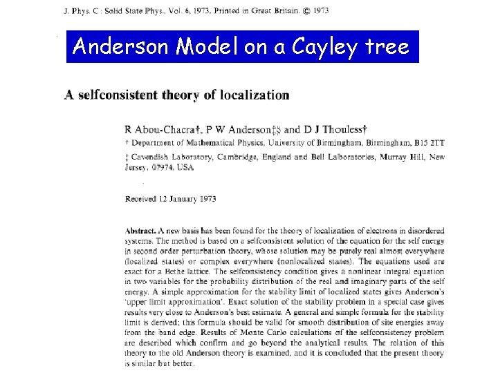 Anderson Model on a Cayley tree