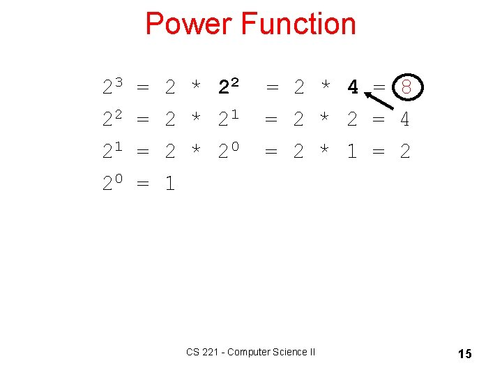 Power Function 23 = 2 * 22 = 2 * 4 = 8 22