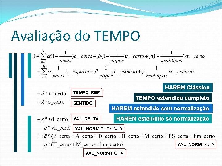 Avaliação do TEMPO HAREM Clássico TEMPO_REF SENTIDO VAL_DELTA TEMPO estendido completo HAREM estendido sem