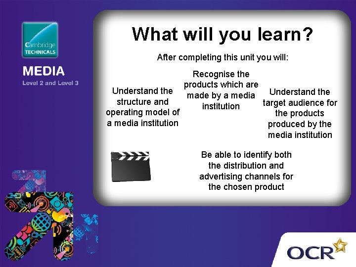 What will you learn? After completing this unit you will: Recognise the products which