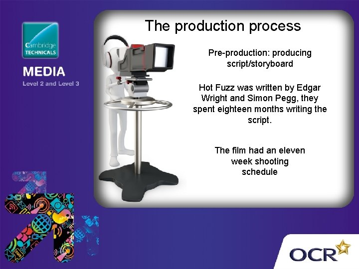 The production process Pre-production: producing script/storyboard Hot Fuzz was written by Edgar Wright and