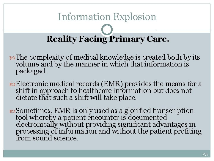 Information Explosion Reality Facing Primary Care. The complexity of medical knowledge is created both