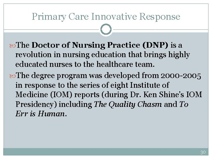 Primary Care Innovative Response The Doctor of Nursing Practice (DNP) is a revolution in