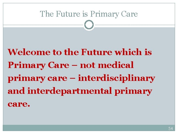 The Future is Primary Care Welcome to the Future which is Primary Care –