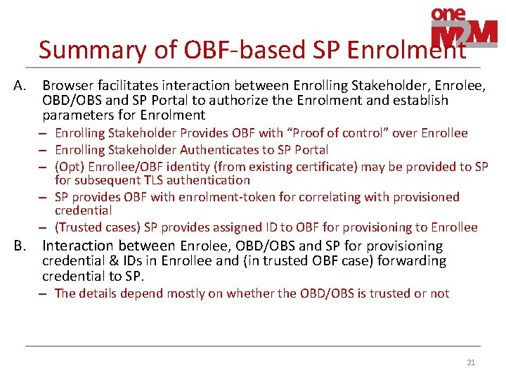 Summary of OBF-based SP Enrolment A. Browser facilitates interaction between Enrolling Stakeholder, Enrolee, OBD/OBS