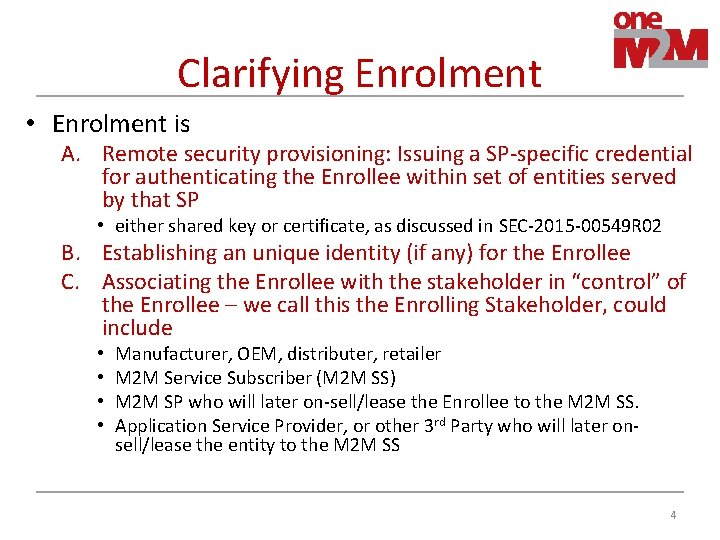 Clarifying Enrolment • Enrolment is A. Remote security provisioning: Issuing a SP-specific credential for
