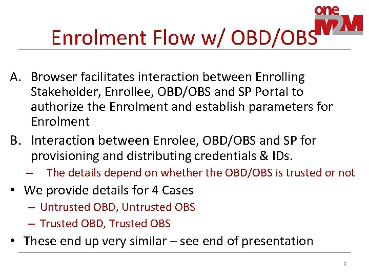 Enrolment Flow w/ OBD/OBS A. Browser facilitates interaction between Enrolling Stakeholder, Enrollee, OBD/OBS and