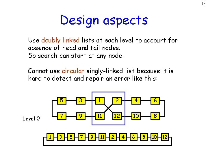 17 Design aspects Use doubly linked lists at each level to account for absence