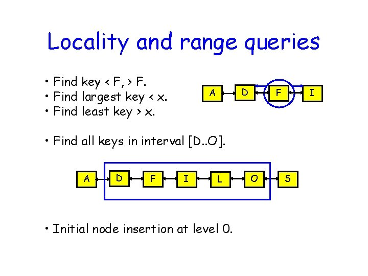 Locality and range queries • Find key < F, > F. • Find largest