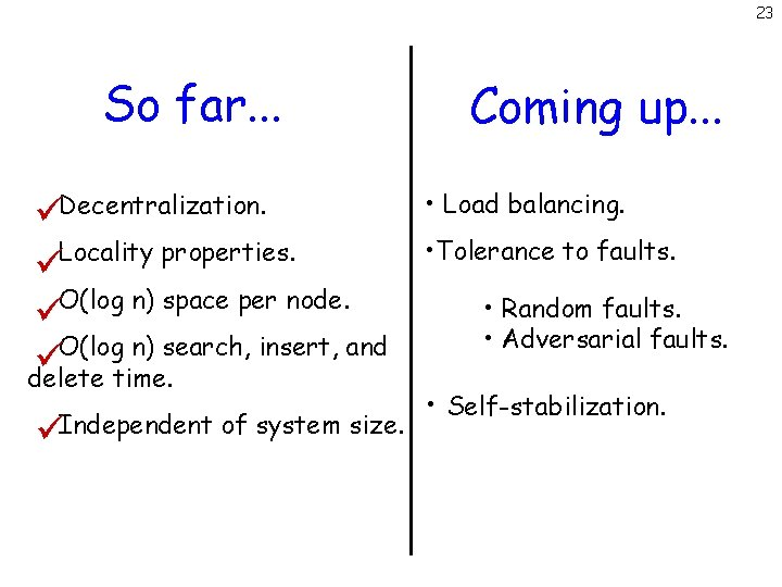 23 So far. . . Decentralization. Locality properties. O(log n) space per node. O(log