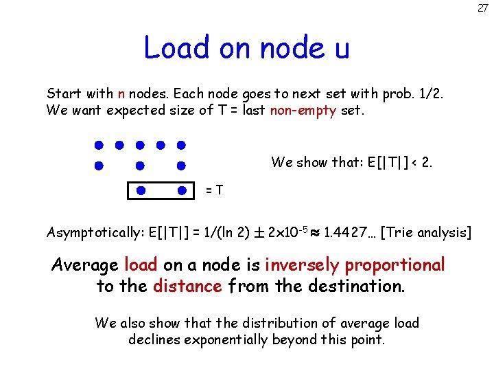 27 Load on node u Start with n nodes. Each node goes to next