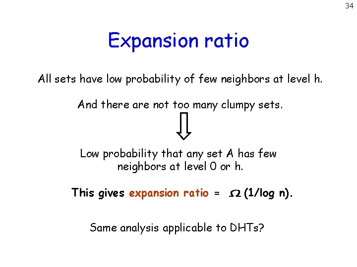 34 Expansion ratio All sets have low probability of few neighbors at level h.