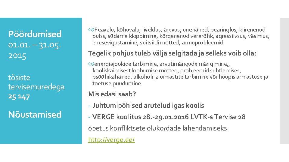 Pöördumised 01. – 31. 05. 2015 tõsiste tervisemuredega 25 147 Nõustamised Peavalu, kõhuvalu, iiveldus,