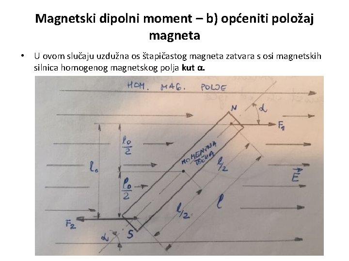 Magnetski dipolni moment – b) općeniti položaj magneta • U ovom slučaju uzdužna os