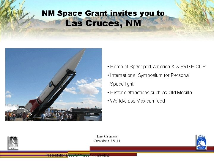 NM Space Grant invites you to Las Cruces, NM • Home of Spaceport America