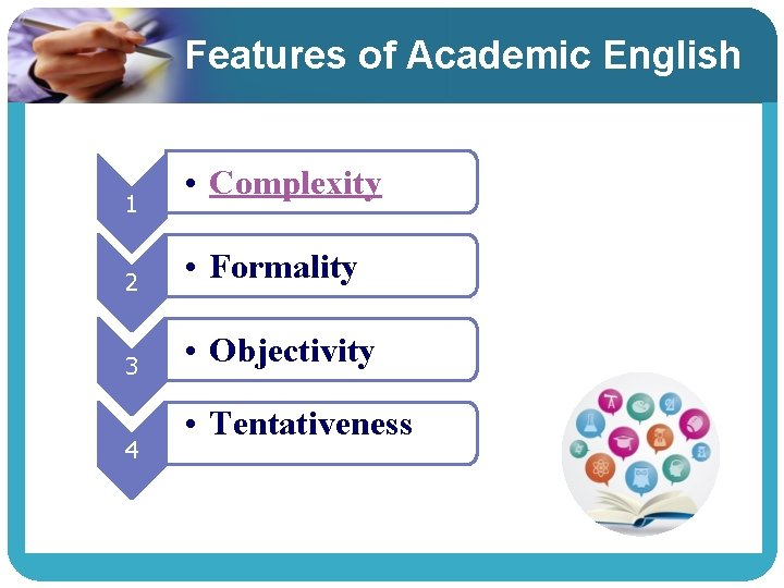 Features of Academic English 1 • Complexity 2 • Formality 3 • Objectivity 4